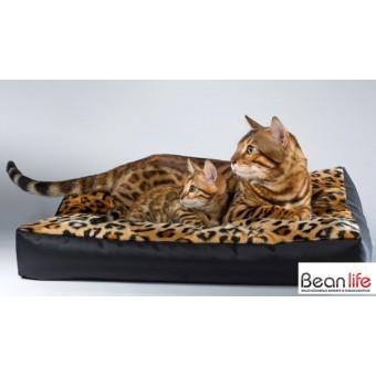 Лежанка для кошек и собак прямоугольная (чехол иск.мех / Зима лето)